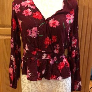 Express Tops - Burgundy Floral Long Sleeve Blouse
